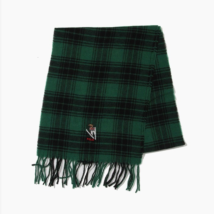 [폴로] POLO Bear Embroidered Plaids Scarf Green/Black, 스카프, 목도리 - 풋셀스토어
