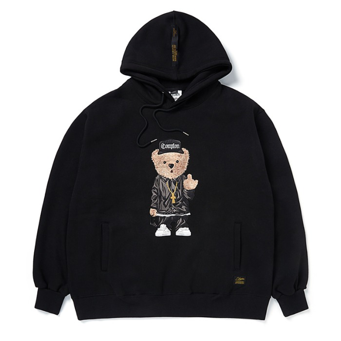 스티그마 STIGMA EMB COMPTON BEAR OVERSIZED HEAVY SWEAT HOODIE BLACK - 풋셀스토어