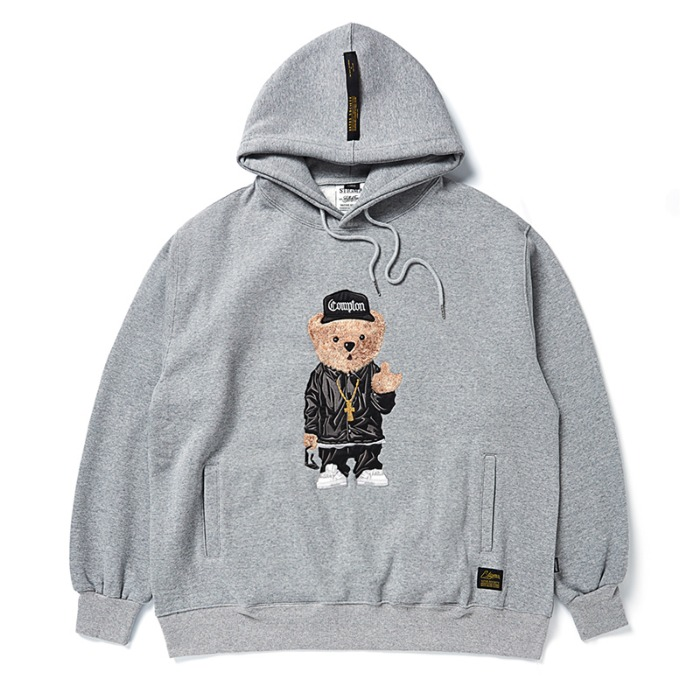 스티그마 STIGMA EMB COMPTON BEAR OVERSIZED HEAVY SWEAT HOODIE GREY - 풋셀스토어