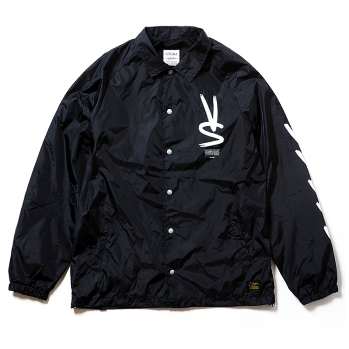 스티그마 STIGMA PAINT OVERSIZED COACH JACKET BLACK - 풋셀스토어