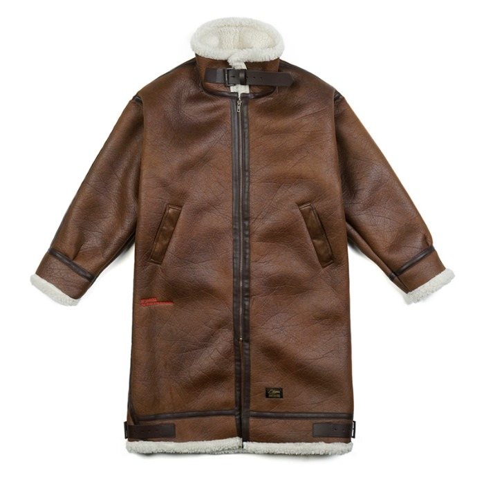 스티그마 STIGMA STGM OVERSIZED MOUTON LONG JACKET BROWN - 풋셀스토어