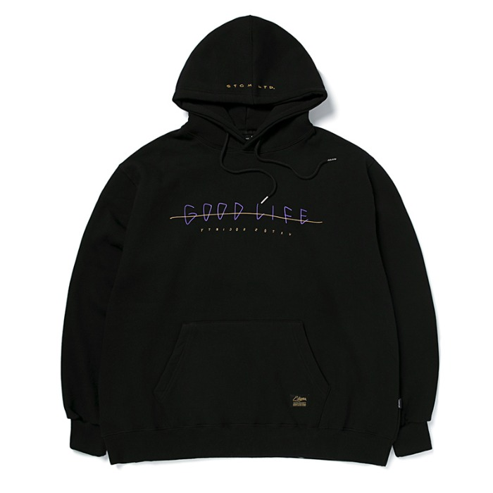 스티그마 STIGMA GOOD LIFE OVERSIZED HEAVY SWEAT HOODIE BLACK - 풋셀스토어