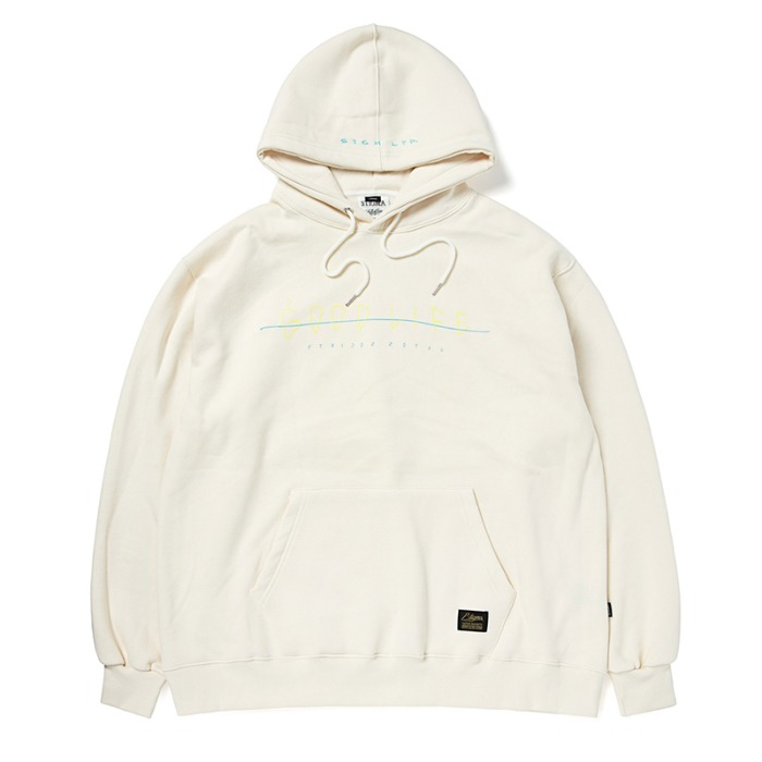 스티그마 STIGMA GOOD LIFE OVERSIZED HEAVY SWEAT HOODIE BEIGE - 풋셀스토어
