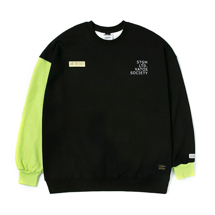 스티그마 STIGMA BARCODE OVERSIZED HEAVY SWEAT CREWNECK NEON GREEN - 풋셀스토어