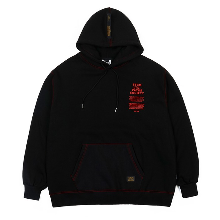 스티그마 STIGMA STITCH OVERSIZED HEAVY SWEAT HOODIE BLACK - 풋셀스토어
