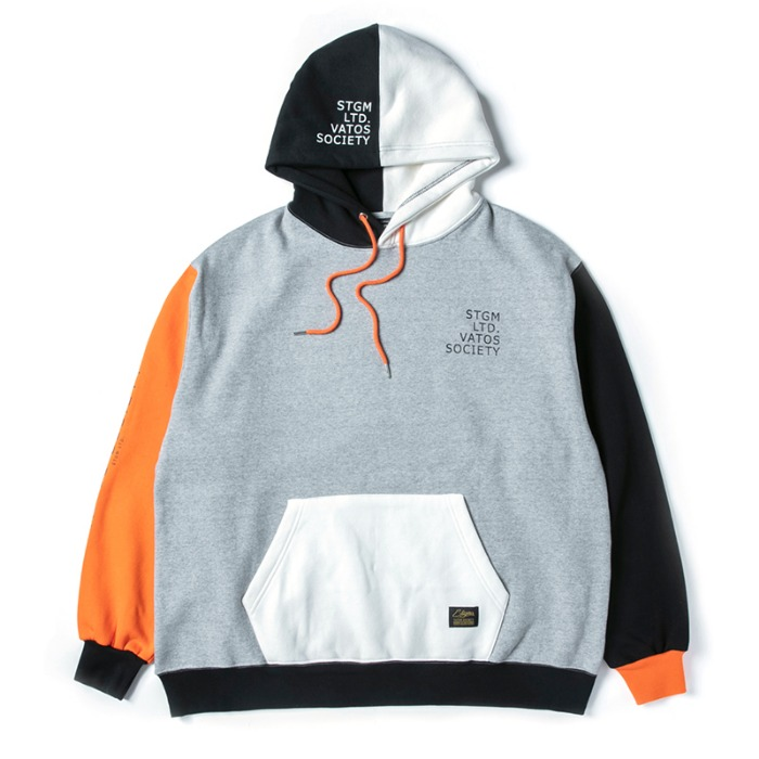 스티그마 STIGMA MULTIPLE OVERSIZED HEAVY SWEAT HOODIE ORANGE - 풋셀스토어