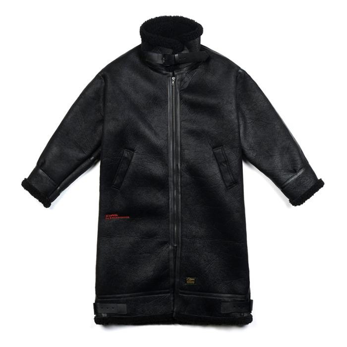 스티그마 STIGMA STGM OVERSIZED MOUTON LONG JACKET BLACK - 풋셀스토어