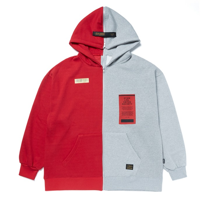 스티그마 STIGMA SPLIT OVERSIZED HEAVY SWEAT ZIPUP HOODIE RED - 풋셀스토어