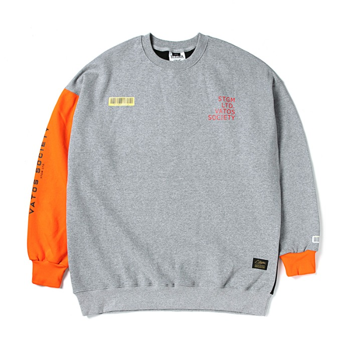 스티그마 STIGMA BARCODE OVERSIZED HEAVY SWEAT CREWNECK ORANGE - 풋셀스토어