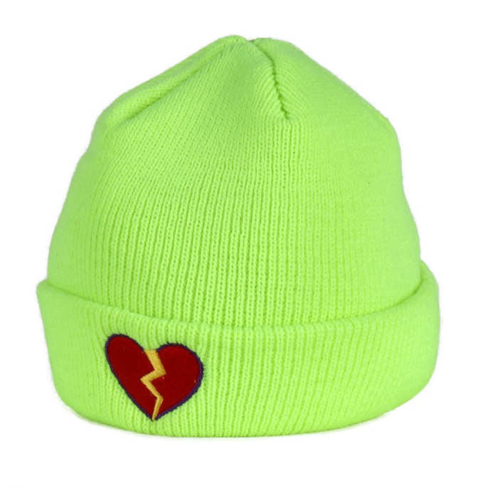[쿠드그라스] COUP DE GRACE BROKEN HEART BEANIE NEON YELLOW - 풋셀스토어