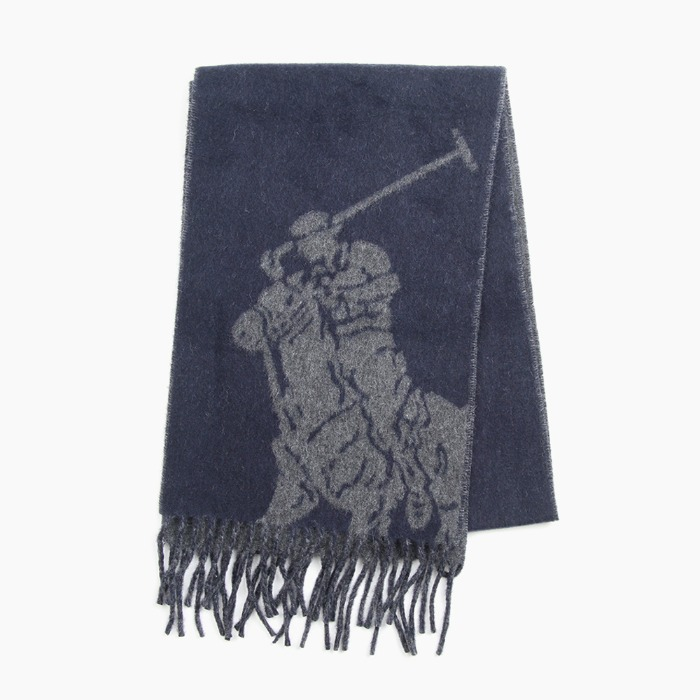 [폴로] POLO Big Pony Jacquard Scarf Navy/Charcoal 스카프 목도리 - 풋셀스토어