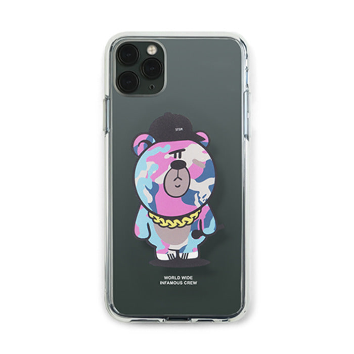 스티그마PHONE CASE CAMOUFLAGE BEAR PINK CLEAR iPHONE 11 / 11 Pro / 11 Pro Max - 풋셀스토어
