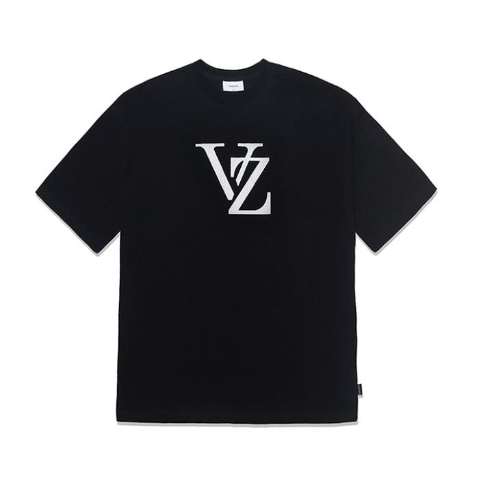 [바잘] 모노그램 화이트 빅로고 반팔 티셔츠 블랙 - 풋셀스토어