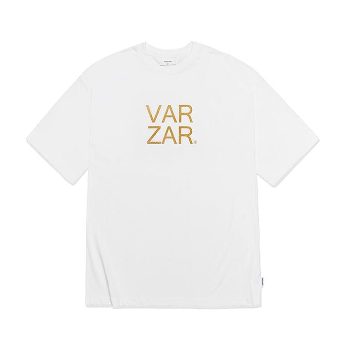 [바잘] 오리지널 골드 빅로고 반팔 티셔츠 화이트 - 풋셀스토어